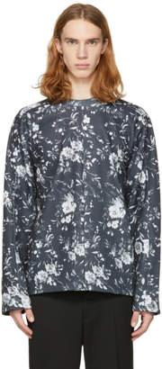 McQ Grey Floral Recycled Kimono Sweatshirt