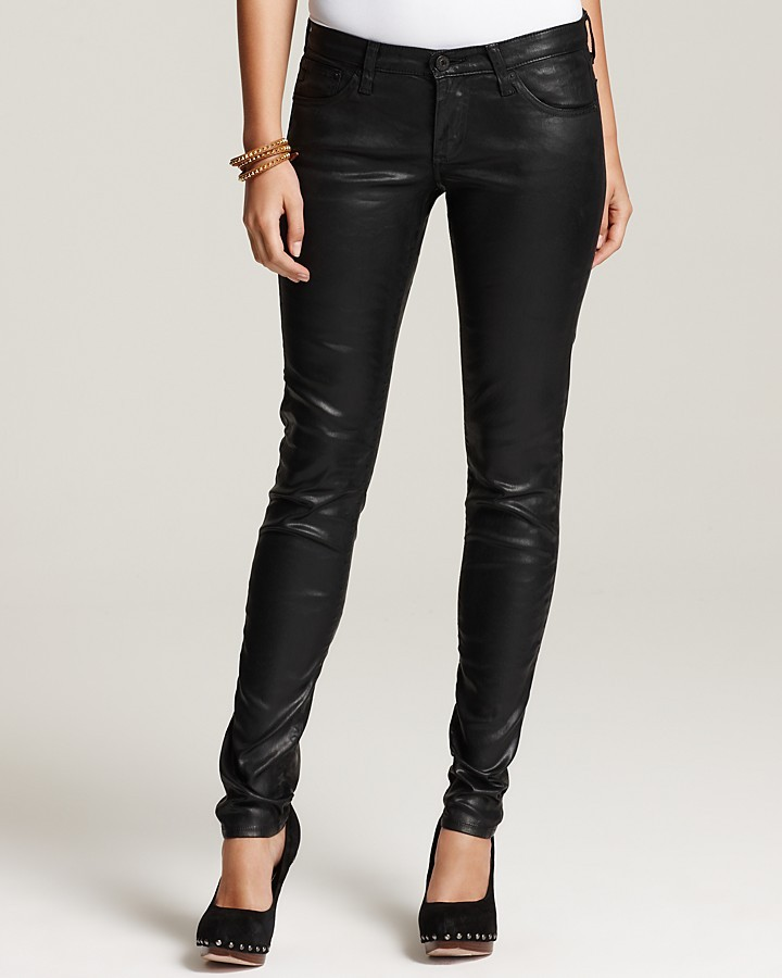 AG Adriano Goldschmied Coated Legging Pants in Leatherette Black