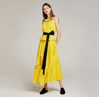 Amanda Wakeley Lemon Yellow Chiffon Fil Coupe Layered Dress