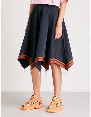 J.W.Anderson Striped-hem cotton umbrella skirt