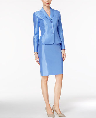 Le Suit Shawl-Collar Shimmer Skirt Suit $200 thestylecure.com