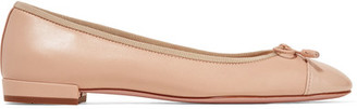Prada - Matte And Patent-leather Ballet Flats - Beige $655 thestylecure.com