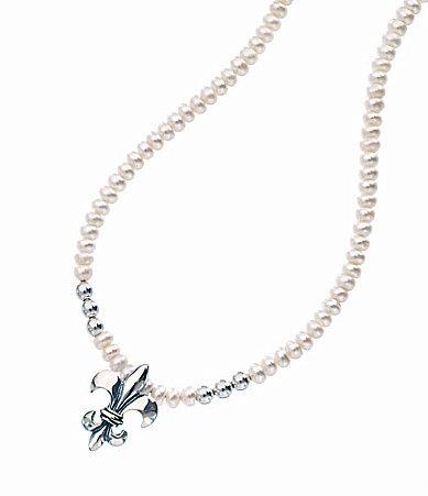 Mignon Faget Fleur-de-Lis Pearl Necklace