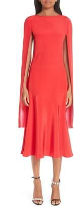 Calvin Klein Cape Sleeve Silk Cady Midi Dress