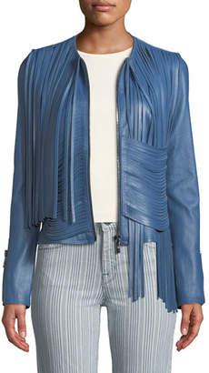 Nour Hammour Collarless Draped Fringe Stretch Lambskin Leather Biker Jacket