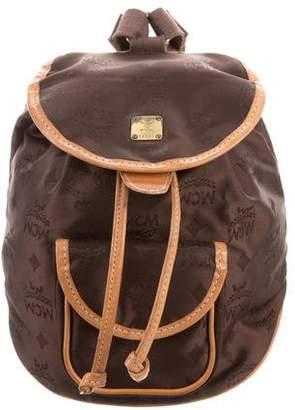 MCM Visetos Nylon Mini Drawstring Backpack