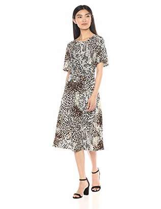 Chaus Women's Flutter Sleeve Exotic Animal Ruched Dress