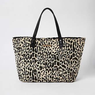 River Island White leopard print beach tote bag