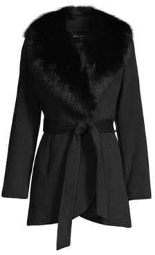 Sofia Cashmere Fur-Trim Wool& Cashmere Wrap Coat