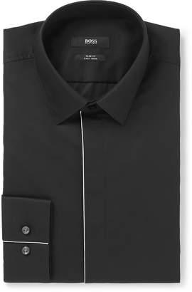 HUGO BOSS Black Slim-Fit Piped Cotton-Poplin Tuxedo Shirt
