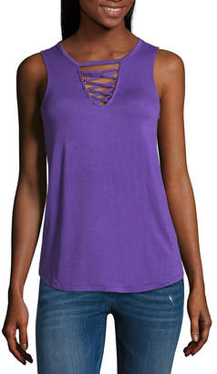 Almost Famous Sleeveless Round Neck Jersey Blouse-Juniors