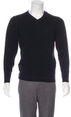 Paul Smith Knit Embroidered Logo V-Neck Sweater