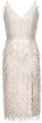 BEIGE UNDRESS - Egoa Metallic Faux Feather Midi Dress With Front Split