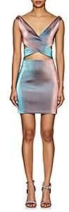 Area Women's Elma Cutout Lamé Wrap Dress - Blue