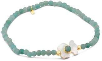 Tous 18K Yellow Gold Super Power Amazonite & Mother-Of-Pearl Beaded Stretch Bracelet