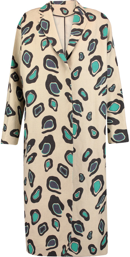 MSGM Printed cotton and linen-blend coat