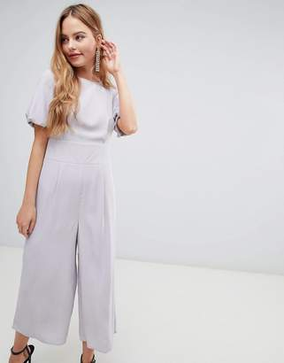 Asos DESIGN Design tea jumpsuit with balloon sleeve