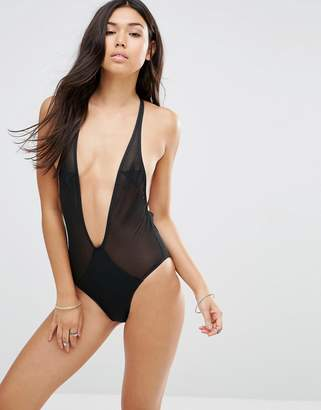 Motel Mesh Star Plunge Suit