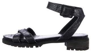 Stuart Weitzman Embossed Leather Low-Heel Sandals