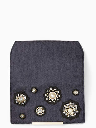 Kate Spade Make it mine denim pearl flap