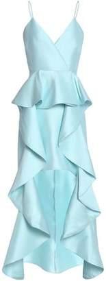 Badgley Mischka Asymmetric Ruffled Faille Gown