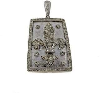 18K White Gold with 1.30ct Diamond Fleurs De Lis Pendant