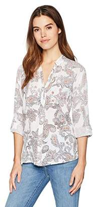 Nine West Women's Sheryl Roll Cuff Button Front Shirt