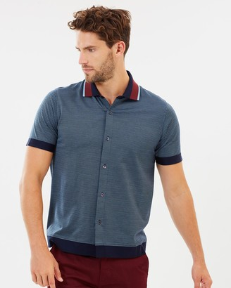 Cerruti Geometric Pattern Luxe Polo Shirt