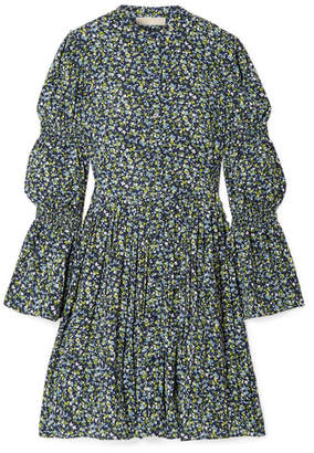 MICHAEL Michael Kors Smocked Floral-print Crepe Dress