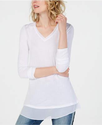 INC International Concepts I.n.c. Sheer-Trim T-Shirt