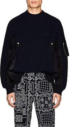 Sacai Men's Tech-Fabric-Inset Wool Sweater