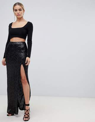 Outrageous Fortune sequin maxi wrap skirt with front split in black