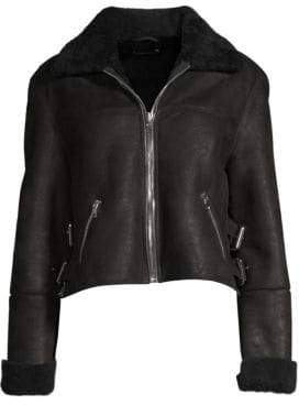 RtA Albany Faux Shearling Leather Moto Jacket