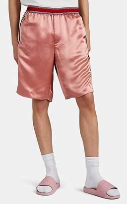 Gucci Men's Embroidered Satin Basketball Shorts - Pink
