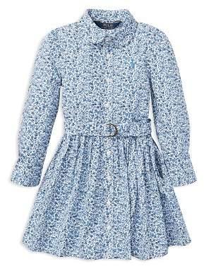 Ralph Lauren Girls' Floral Shirt Dress with Belt - Little Kid
