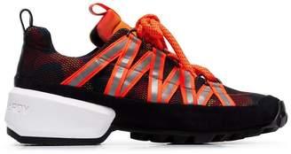 Pierre Hardy orange and black Trail neoprene low top sneakers