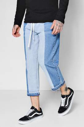 boohoo Cropped Loose Fit Half Bleach Skater Jeans