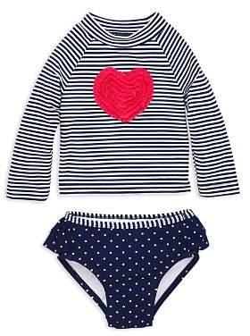 Little Me Girls' Heart Long Sleeve Tee & Swim Bottom Rash Guard Set – Baby