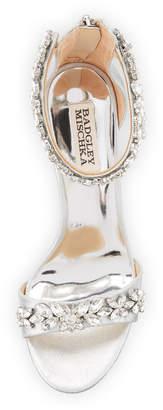 Badgley Mischka Valentine Embellished Metallic Suede Sandals