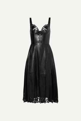 Alexander McQueen Pleated Laser-cut Leather Midi Dress - Black