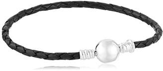 Chamilia Braided Snap Closure Leather Bracelet Medium Charm Bracelet