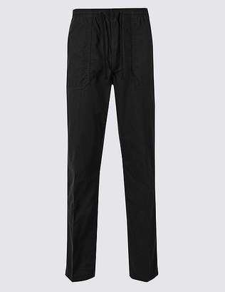 Marks and Spencer Pull-on Regular Fit Pure Cotton Trousers