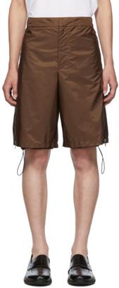 Prada Brown Nylon Side Zip Shorts