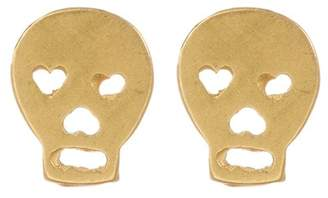 Dogeared 14K Yellow Gold Plated Sterling Silver 'It's the Little Things' Skull Stud Earrings