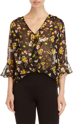 Lush Sheer Floral Surplice Top
