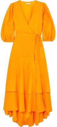 Ganni Wilkie Striped Silk And Cotton-blend Seersucker Wrap Dress - Orange