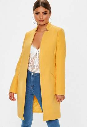 Missguided Tall Yellow Inverted Collar Formal Coat