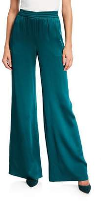 Sally LaPointe Satin Wide-Leg Track Pants, Emerald