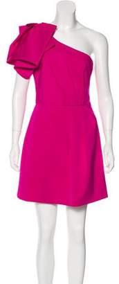 Lela Rose Silk-Blend Asymmetrical Dress