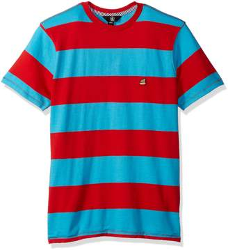 Volcom Men's Short Sleeve Burger X Striped Crew Shirt, M